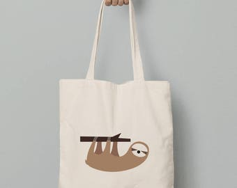 Tote bag, printed sloth canvas tote bag, gift for her