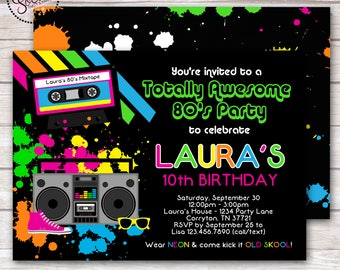 Totally Awesome 80's Birthday Party Invitation DIGITAL OR PRINTED