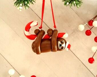 Sloth Ornament Polymer Clay Christmas Ornament Joke Gift Ideas Sloth Christmas Ornament Lazy Ornament Trendy Gift Ideas