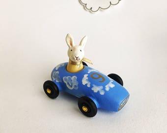 rabbit in a cloud car -cloud nine - miniature toy car