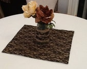 Burlap and Lace Table Square, Custom Size Available, Wedding, Shower, Party, Home Decor, Large Order Available
