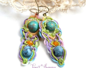 Artisan Blueberrie Turquoise Handcrafted Clay Beads Tatting Chandelier Dangle Fiber Earrings