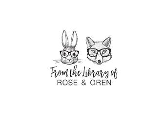 Animal Classic - Personalized Custom Bookplate Rubber Stamp or Self Inking - Books Book Bunny Rabbit Fox Reading Glasses Library