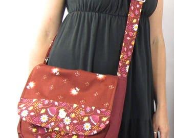 Burgundy Wine Patchwork Messenger Bag