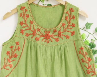 Sleeveless Summer Cotton Top, Hand Embroidered Flower Women Top, Casual Comfy Loose Fitting Round Neck Top, Handmade Top in Green