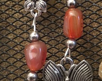 Butterfly, flower and amber drop earrings