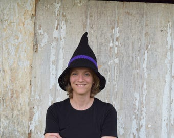 Adult witches hat//teen//10 year old//purple band