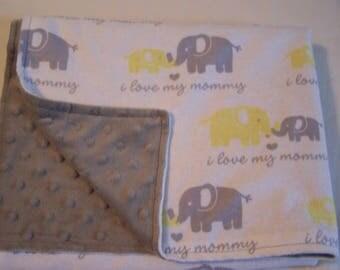 Baby Blanket - Gray and Yello Elephant Blanket - Crib Blanket - Elephant Minky Blanket - Gray Minky Blanket - Car Seat Blanket