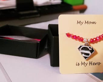 My Mom Is My Hero Superhero Red beaded Stretch Mother Day Bracelet Gift Idea