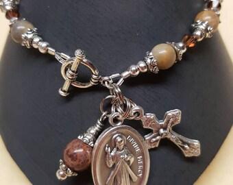 Jasper Rosary Bracelet with Divine Mercy Medal