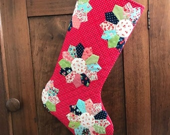Christmas Stocking - Hand Appliqued Quilted Christmas Stocking - Personalized Christmas Stocking - Quilted Christmas Stocking