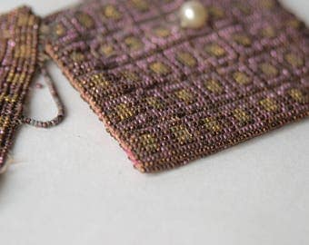 "As Is 1920s Antique Micro Metal Steel Cut Beaded Purse Compact Case 3"" x 2.5"" Pink Gold -B4"