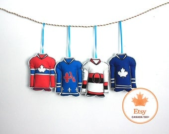 Hockey Ornaments- Set of 4 Canadian hockey jersey ornaments- Eastern hockey teams