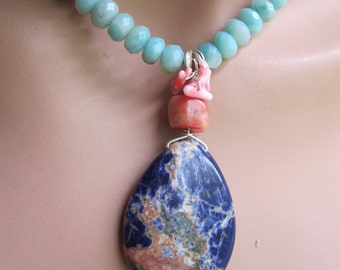 Summertime Colorful Amazonite, Coral and Sodalite Pendant Beaded Necklace