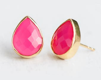 Fuchsia Pink Chalcedony Stud Earrings - October Birthstone Studs - Hot Pink Gemstone Studs - Tear Drop Studs - Gold Earrings - Post Earrings