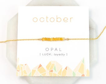 October Opal Necklace, Birthstone Gift Necklace, Opal Necklace Silver, Natural Ethiopian Opal, Dainty Bar Necklace, Jewelry Trends, Unique