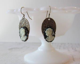 Cameo Dangle Earrings // Victorian Jewelry