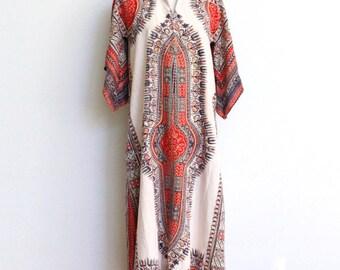 Vintage Caftan // 70s Hippie Maxi Kimono Sleeve Dashiki Dress Medium // Tribal Angel Wing Festival Dress