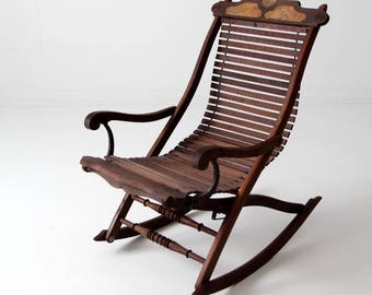 antique rocking chair, Victorian slat wood seat lounge rocker chair