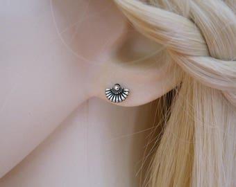 A pair of FAN sterling silver stud earrings