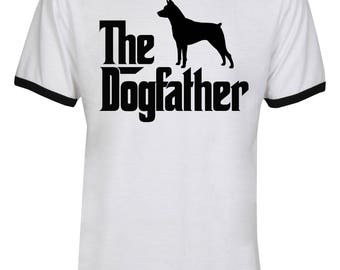The Dogfather Miniature Pinscher Shirt - The Dog Father Miniature Pinscher Shirt - Dog Dad - Men Unisex Ringer Tee T-Shirt - IZRSUB179