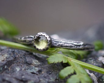 Peridot ring, gemstone branch ring, nature ring, rustic silver ring, twig ring, size 7
