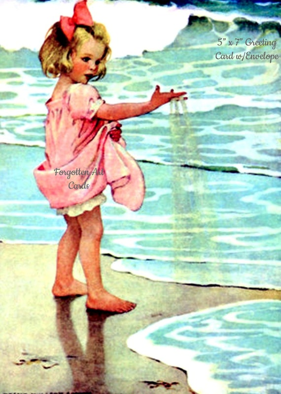 """Little Drops, 5""""x7"""" Greeting Card w/Envelope, Jessie Willcox Smith, Forgotten Art Cards, Pretty Girl Postcards, Pretty Girl, Blue, Pink"""