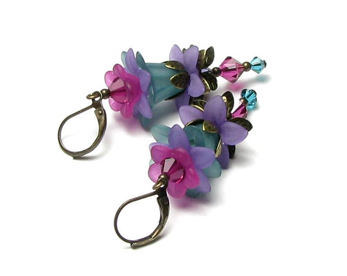 Floral Fairy Earrings in Turquoise Green Fuchsia Purple Sparkling Swarovski Crystals Acrylic Flower Beads Antique Brass Lever Back Ear Wires