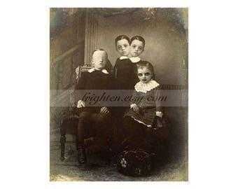 Creepy Halloween Decor, Oddities 8x10 inch Collage Art Print of Weird Two Headed Freaks Family
