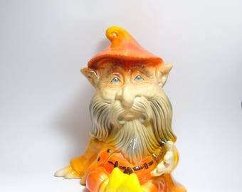 Vintage Hand Painted Art Pottery Garden Gnome, Ceramic Garden Gnome, Ceramic Garden Troll, Art Pottery Gnome, Garden Troll, Yard Art Gnome