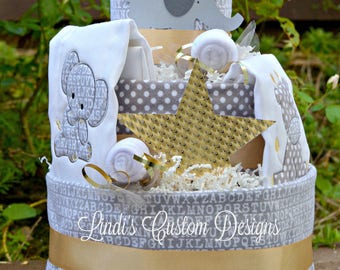 Elephant Diaper Cake Gray, Silver, and Gold, Gender Neutral Elephant Diaper Cake, Champagne Brunch Boutique Diaper Cake, Modern Shower Cake