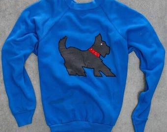 Blue Scottie Dog Sweatshirt Vintage Scottish Terrier Fleece Oversized XXL