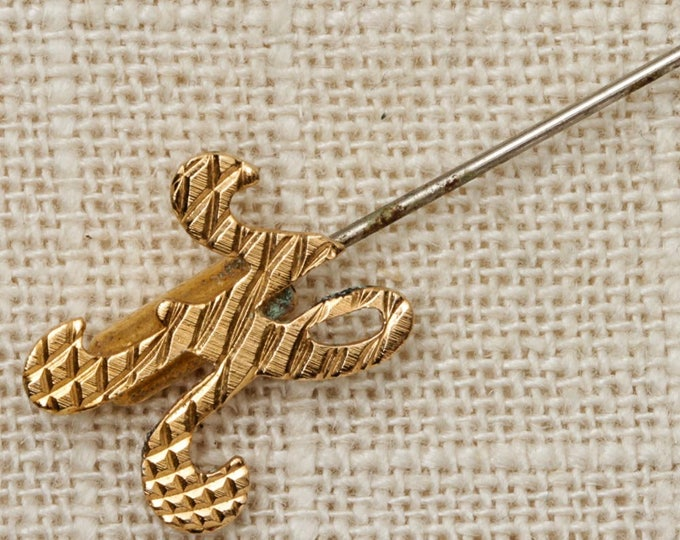 Gold Letter K Stick Pin Monogram Vintage Stickpin 7R