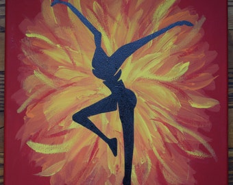 DMB inspired Fire Dancer hand painted canvas