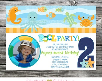 Under the Sea Invitation, Pool Birthday Invitation, Pool Party Invitation, Splish Splash, photo invitation, Pool Party, Pool Bash, Swimming