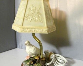 Vintage Table Lamp White Dove Table Lamp Side Table Lamp Bedside Lamp Small Floral Lamp Small Vintage Lamp Small Accent Lamp