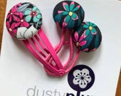 Liberty of London Toddler Set - Mini Pair of Button Hair Ties and Snap Clip for Babies Toddlers or Plaits - hot pink and black cool floral