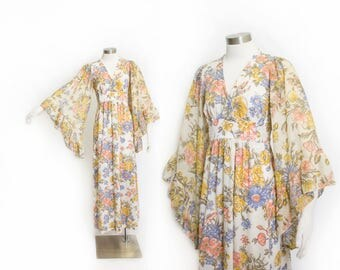 Vintage 1970s Dress - ANGEL SLEEVE Floral Cotton Ruffle Full Length Maxi Boho Dress - Medium