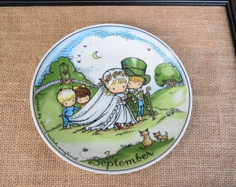 Fall Wedding plate, collectible wedding plate, Joan Walsh Anglund plate, Joan Walsh Anglund September plate,