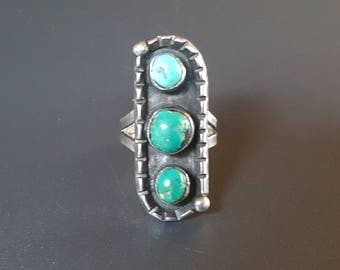 Old Navajo Three Stone Turquoise Ring 1940s Sterling Silver Size 4