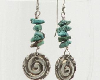 Turquoise Earrings Sterling Silver Dangle Spiral Earrings Rustic Earthy Organic Hippie Bo Ho Long Dangle Eco Friendly