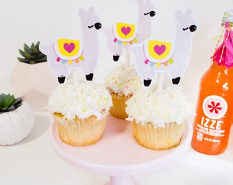 Llama Love Printable Cupcake Toppers for Llama Party by Itsy Belle