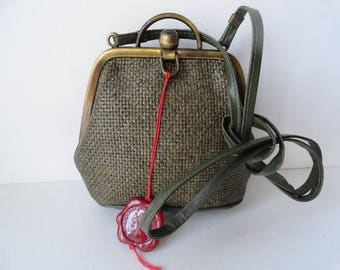 MADE IN ITALY Handbags Army Green Straw Purse Small Travel Purse Green Cross body Handbag Brass Khaki Green  Straw Handbag Vintage Straw Bag