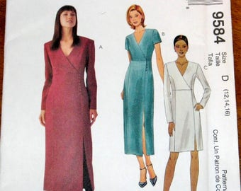 Easy Sewing Pattern McCall's 9584, Surplice Bodice Princess Seam Wrap Dress, Womens Misses Size 12 14 16 Bust 34 36 38, Uncut Factory Folds