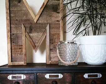 "THE LETTER 24"" Reclaimed Wood Letter Initial to Hang or Display"