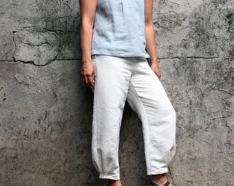 Linen pants women, linen trousers, wide leg trousers. Cropped linen pants. Japanese style pants. Sustainable clothing made in Italy.
