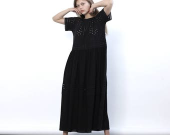 Big Summer Sale Eyelet Embroidery Panel Dress, Party Dress, Black maxi dress.