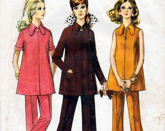 1960s Maternity Dress and Pants Pattern Style 2845 Vintage Sewing Pattern Mod Zip Front A Line Tunic & Trousers Bust 34