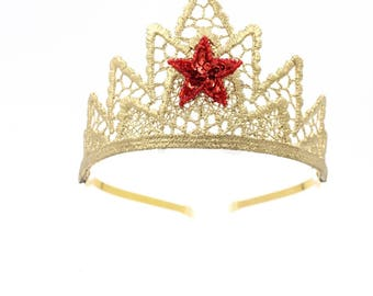NEW Wonder Woman gold lace TIARA with red sequin star || costume photo prop
