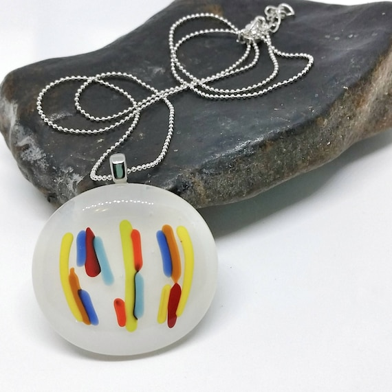 Rainbow Line Glass Pendant with Silver Chain